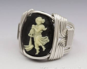 Aquarius Zodiac Astrology Sign January 21 - February 18 Acrylic Cameo Sterling Silver Wire Wrapped Ring - Made to Order, Ships Fast!
