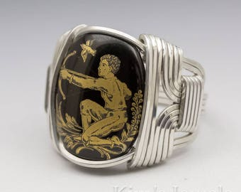 Sagittarius Zodiac Astrology Sign November 23 - December 21 Glass Cab Sterling Silver Wire Wrapped Ring - Made to Order, Ships Fast!