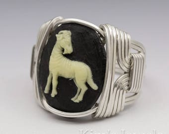 Aries Zodiac Astrology Sign March 21 - April 20 Acrylic Cameo Sterling Silver Wire Wrapped Ring - Made to Order, Ships Fast!