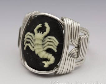 Scorpio Zodiac Astrology Sign October 24 - November 22 Acrylic Cameo Sterling Silver Wire Wrapped Ring - Made to Order, Ships Fast!