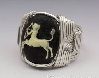 Sagittarius Zodiac Astrology Sign November 23 - December 21 Acrylic Cameo Cab Sterling Silver Wire Wrapped Ring - Made to Order, Ships Fast!