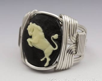 Taurus Zodiac Astrology Sign April 21 - May 21 Acrylic Cameo (No Glass Option) Sterling Silver Wire Wrapped Ring -Made to Order, Ships Fast!