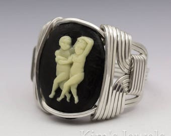 Gemini Zodiac Astrology Sign May 22 - June 21 Acrylic Cameo Sterling Silver Wire Wrapped Ring - Made to Order, Ships Fast!