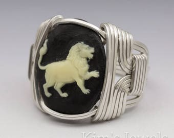 Leo Zodiac Astrology Sign July 23 - August 23 Acrylic Cameo (No Glass Option) Sterling Silver Wire Wrapped Ring - Made to Order, Ships Fast!