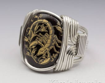 Scorpio Zodiac Astrology Sign October 24 - November 22 Glass Cabochon Sterling Silver Wire Wrapped Ring - Made to Order, Ships Fast!