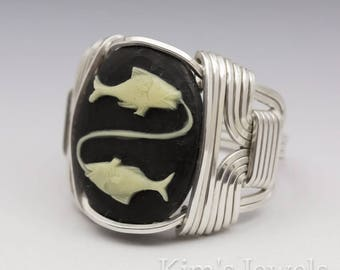 Pisces Zodiac Astrology Sign February 19 - March 20 Acrylic Cameo Sterling Silver Wire Wrapped Ring - Made to Order, Ships Fast!