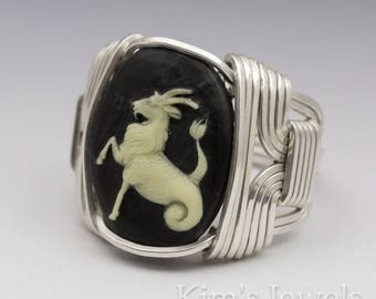 Capricorn Zodiac Astrology Sign December 22 - January 20 Acrylic Cabochon Sterling Silver Wire Wrapped Ring - Made to Order, Ships Fast!