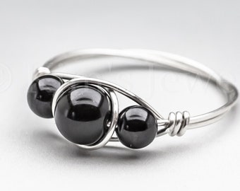 Black Tektite Indochinite & Black Schorl Tourmaline Sterling Silver Wire Wrapped Gemstone BEAD Ring - Made to Order, Ships Fast!