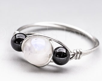 Rainbow Moonstone & Black Schorl Tourmaline Sterling Silver Wire Wrapped Gemstone BEAD Ring - Made to Order, Ships Fast!