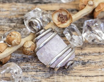 Soft Pale Pink Kunzite Crystal Gemstone Oxidized Sterling Silver Wire Wrapped Pendant Charm - Ready to Ship!