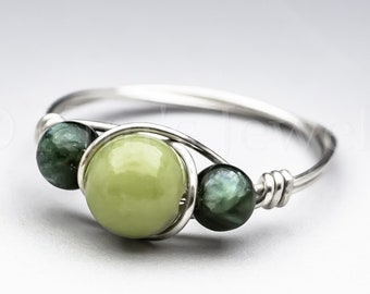 Green Connemara Marble from Ireland & Seraphinite Clinochlore Sterling Silver Wire Wrapped Gemstone BEAD Ring - Made to Order, Ships Fast!