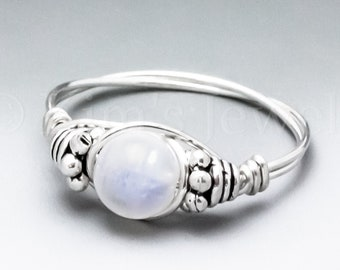 Rainbow Moonstone Bali Sterling Silver Wire Wrapped Gemstone BEAD Ring - Made to Order, Ships Fast!