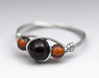 Black Schorl Tourmaline & Amber Sterling Silver Wire Wrapped Gemstone BEAD Ring - Made to Order, Ships Fast!