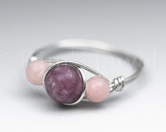 Lepidolite & Peruvian Pink Opal Sterling Silver Wire Wrapped Gemstone BEAD Ring - Made to Order, Ships Fast!