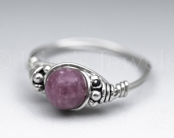 Lepidolite Bali Sterling Silver Wire Wrapped Gemstone BEAD Ring - Made to Order, Ships Fast!