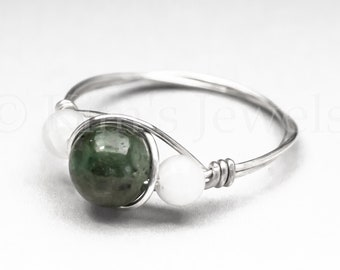 Genuine Emerald w/Biotite & White Moonstone Sterling Silver Wire Wrapped Gemstone BEAD Ring - Made to Order, Ships Fast!