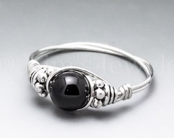 Black Obsidian Bali Sterling Silver Wire Wrapped Gemstone BEAD Ring - Made to Order, Ships Fast!