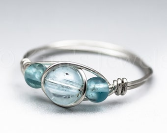 Blue Topaz & Neon Apatite Sterling Silver Wire Wrapped Gemstone BEAD Ring - Made to Order, Ships Fast!