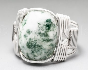 Tree Agate Sterling Silver Wire Wrapped Gemstone Cabochon Ring - Optional Oxidation/Antiquing - Made to Order, Ships Fast!