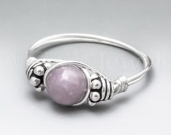 Light Lepidolite Bali Sterling Silver Wire Wrapped Gemstone BEAD Ring - Made to Order, Ships Fast!