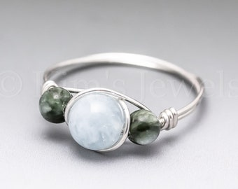 Aquamarine & Seraphinite Clinochlore Sterling Silver Wire Wrapped Gemstone BEAD Ring - Made to Order, Ships Fast!