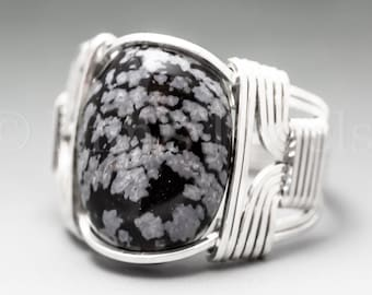 Snowflake Obsidian Sterling Silver Wire Wrapped Gemstone Cabochon Ring - Optional Oxidation/Antiquing - Made to Order, Ships Fast!
