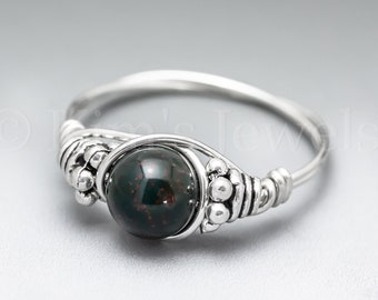Bloodstone Heliotrope Bali Sterling Silver Wire Wrapped Gemstone BEAD Ring - Made to Order, Ships Fast!