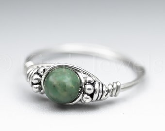 Ching Hai Jade Dolomite Marble Bali Sterling Silver Wire Wrapped Gemstone BEAD Ring - Made to Order, Ships Fast!