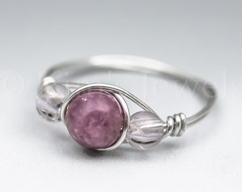 Pink Lepidolite & Light Pink Amethyst Sterling Silver Wire Wrapped Gemstone BEAD Ring - Made to Order, Ships Fast!
