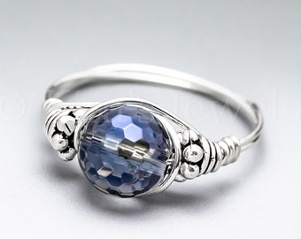 Blue Mystic Quartz Faceted Bali Sterling Silver Wire Wrapped Gemstone BEAD Ring - Made to Order, Ships Fast!