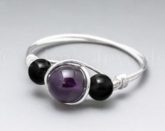 Dark Amethyst & Black Schorl Tourmaline Sterling Silver Wire Wrapped Gemstone BEAD Ring - Made to Order, Ships Fast!