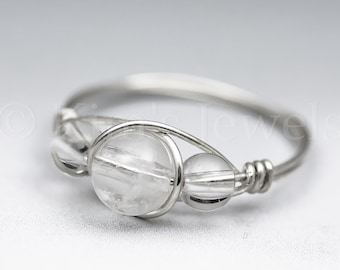 Made to Order Rose Quartz /& Clear Crystal Quartz Sterling Silver Wire Wrapped Gemstone BEAD Ring Ships Fast!