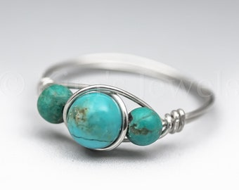 Kingman Turquoise Sterling Silver Wire Wrapped Gemstone BEAD Ring - Made to Order, Ships Fast!