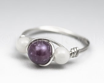 Lepidolite & White Moonstone Sterling Silver Wire Wrapped Gemstone BEAD Ring - Made to Order, Ships Fast!