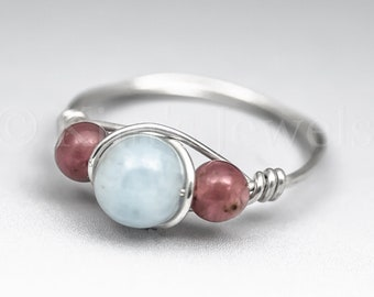 Aquamarine & Rubellite Pink Tourmaline Sterling Silver Wire Wrapped Gemstone BEAD Ring - Made to Order, Ships Fast!