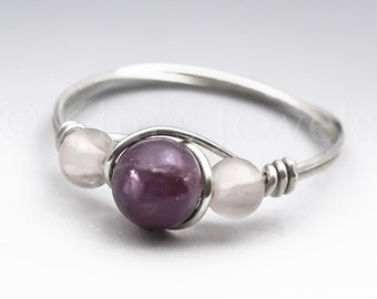 Lepidolite & Rose Quartz Sterling Silver Wire Wrapped Gemstone BEAD Ring - Made to Order, Ships Fast!