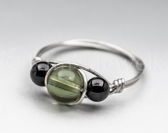 Czech Moldavite Green Tektite & Black Schorl Tourmaline Sterling Silver Wire Wrapped Gemstone Bead Ring - Made to Order, Ships Fast!