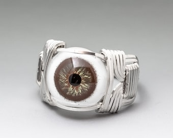 Hazel Glass Eye Eyeball Human Style Sterling Silver Wire Wrapped Ring - Optional Oxidation/Antiquing - Made to Order and Ships Fast!