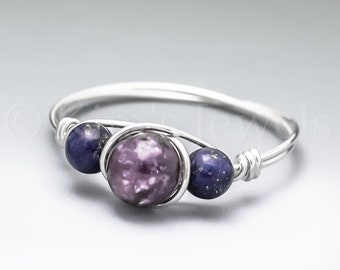 Lepidolite & Lapis Lazuli Sterling Silver Wire Wrapped Gemstone BEAD Ring - Made to Order, Ships Fast!