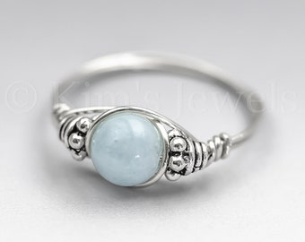 Aquamarine Bali Sterling Silver Wire Wrapped Gemstone BEAD Ring - Made to Order, Ships Fast!
