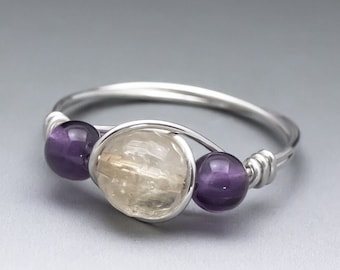 Citrine Faceted & Amethyst Gemstone Sterling Silver Wire Wrap Bead Ring - Made to Order, Ships Fast!