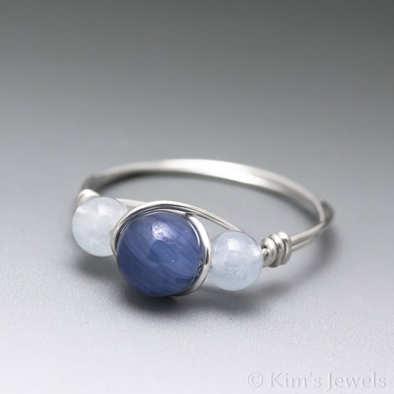 Aquamarine Gemstone Ring in Sterling Silver   Wire Wrapped Bead Ring