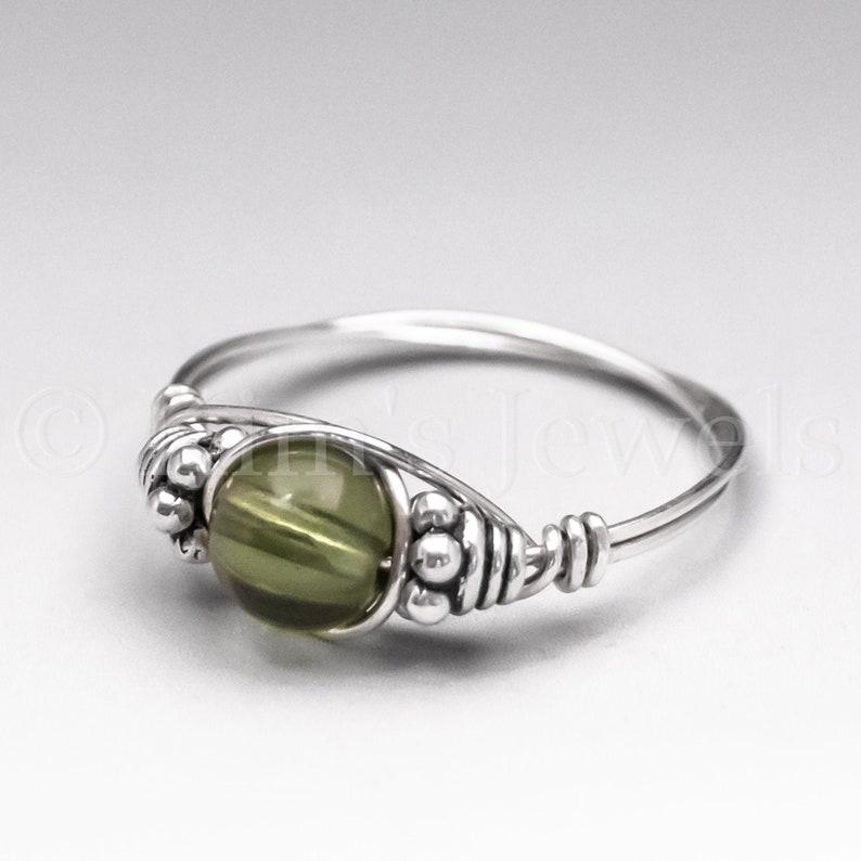 Czech Moldavite Bali Sterling Silver WIRE Wrapped Gemstone image 0