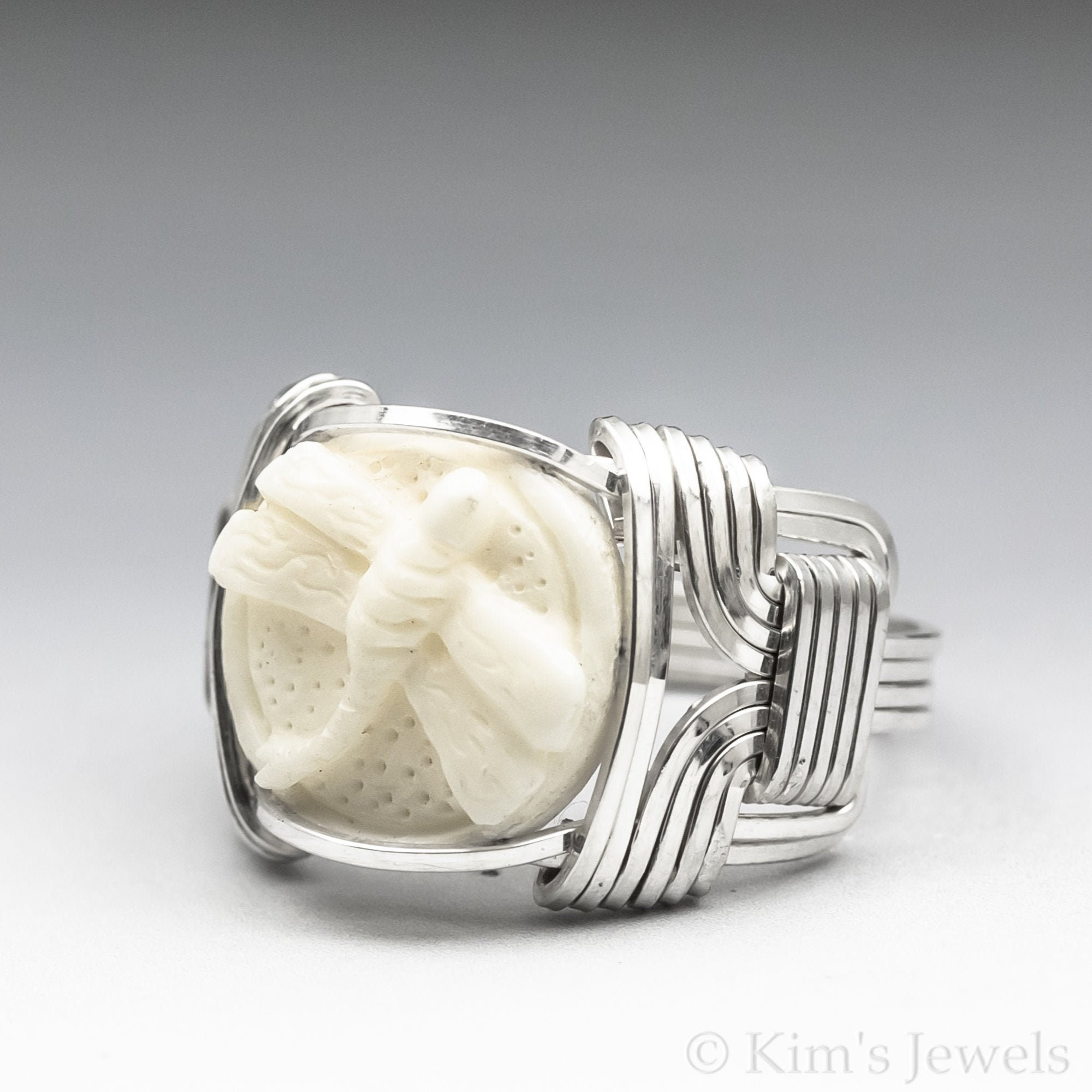 Carved Bone Bovine Dragonfly Cameo Sterling Silver Wire Ring Etsy