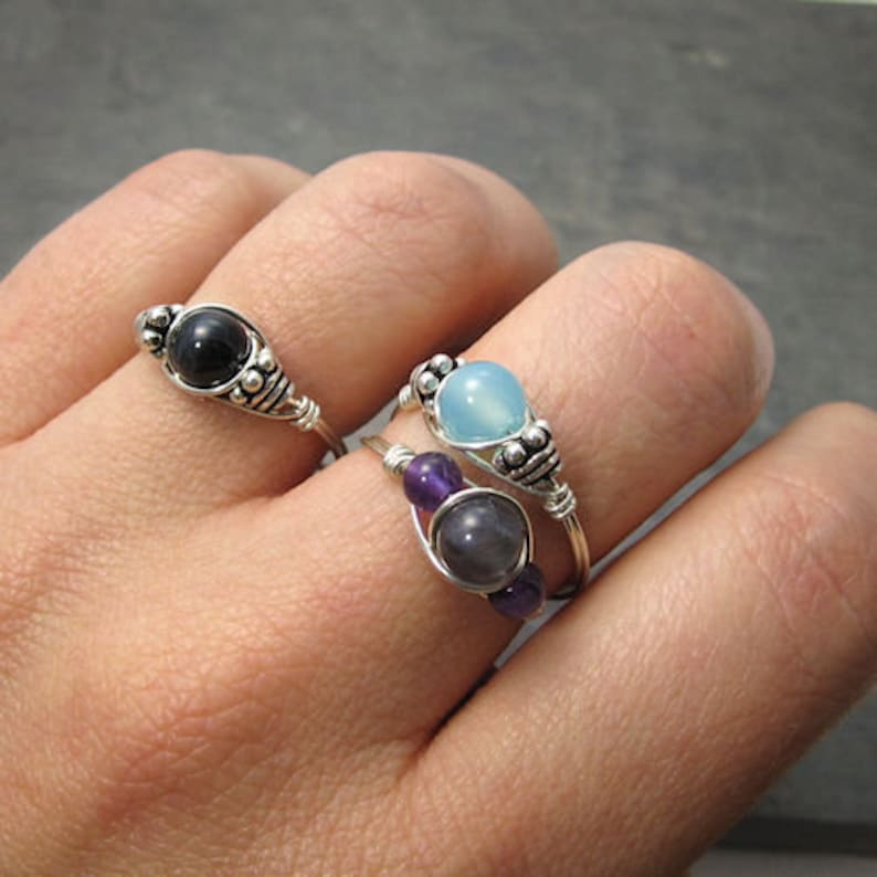 Ships Fast! Made to Order Black Schorl Tourmaline /& White Moonstone Sterling Silver Wire Wrapped Gemstone BEAD Ring