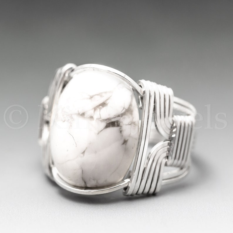 White Howlite Sterling Silver Wire Wrapped Gemstone Cabochon image 0