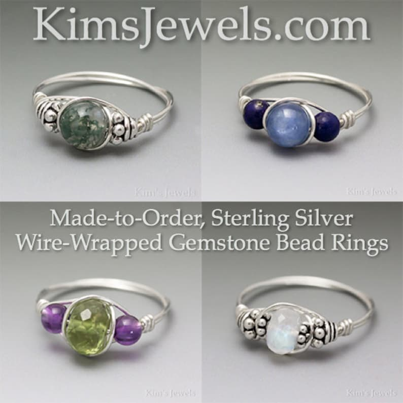 Made to Order Pink Kunzite /& Aquamarine Sterling Silver Wire Wrapped Gemstone Bead Ring Ships Fast!