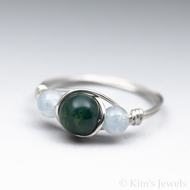 Bloodstone & Aquamarine Gemstone Sterling Silver Wire Wrapped Bead Ring