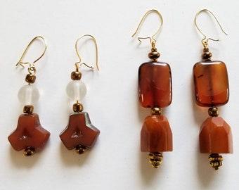 Style Choice - Brown Beaded Pierced Dangle Earrings