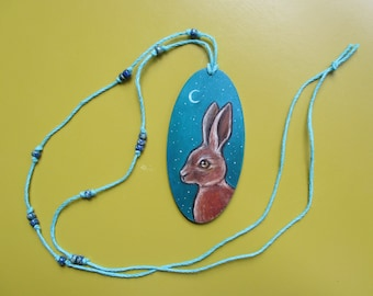 original oil painting on wood beaded necklace hare rabbit